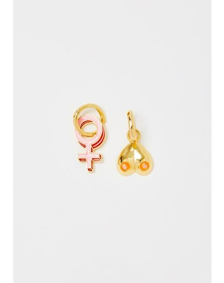 Women's Lib Gold Hoop Earrings