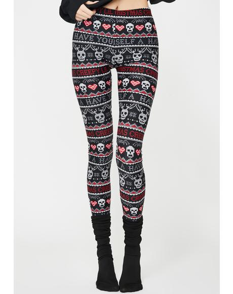 Creepy Lil Christmas Knit Leggings