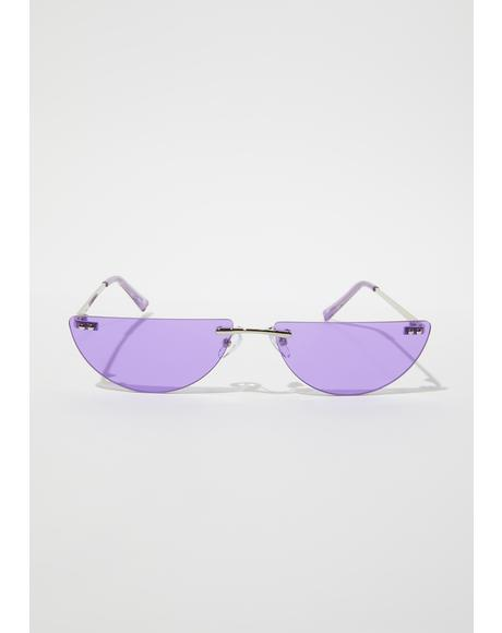 Lilac Chic Thrills Half Oval Frameless Sunglasses