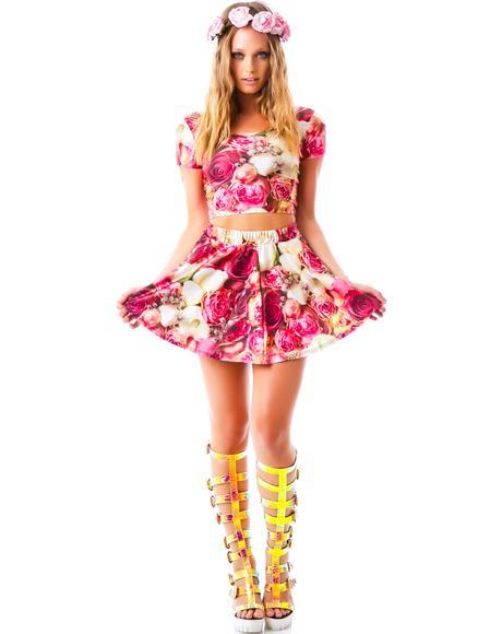 Pink Flower Patch Skater Skirt