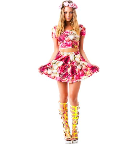 Terez Pink Flower Patch Skater Skirt