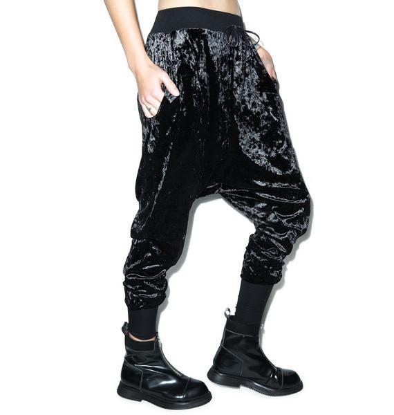 Widow Panther Crushed Velvet Drop-Rise Sweatpants