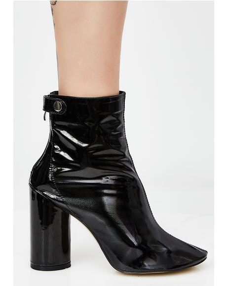 Lia Black Vinyl Stud Strap Boots