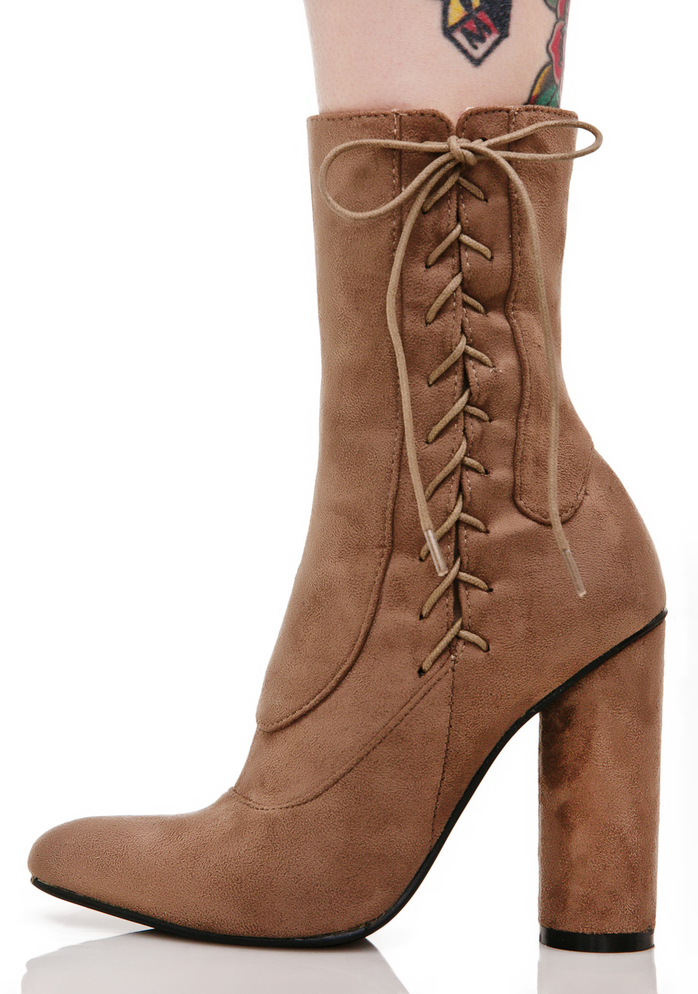 Brown Lace Up Side Boots