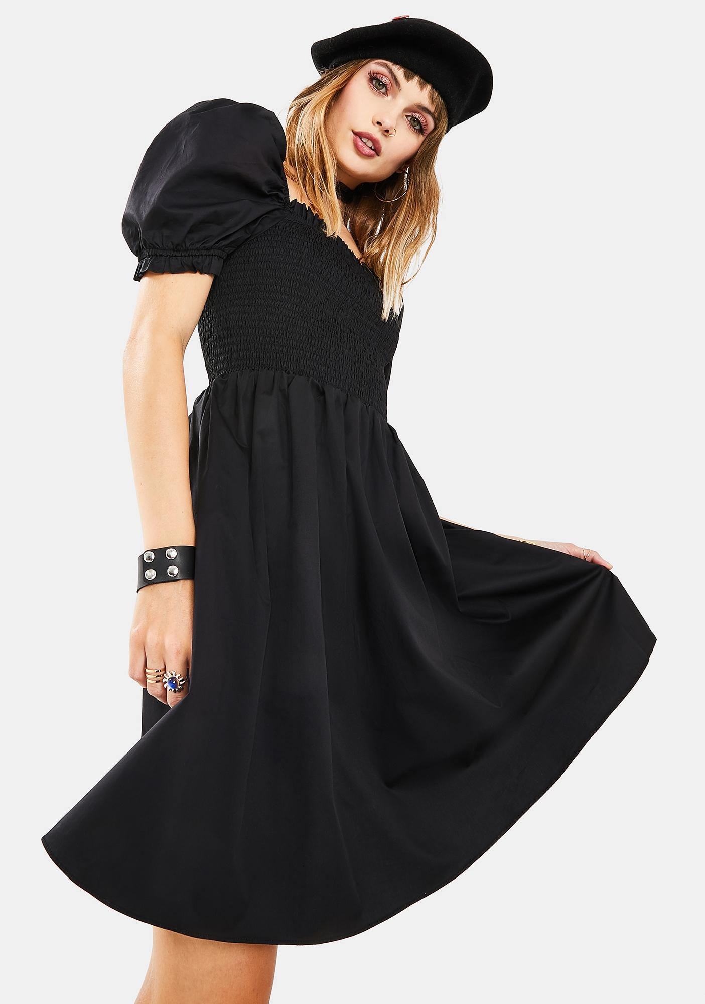 Glamorous Black Puff Sleeve Babydoll Dress