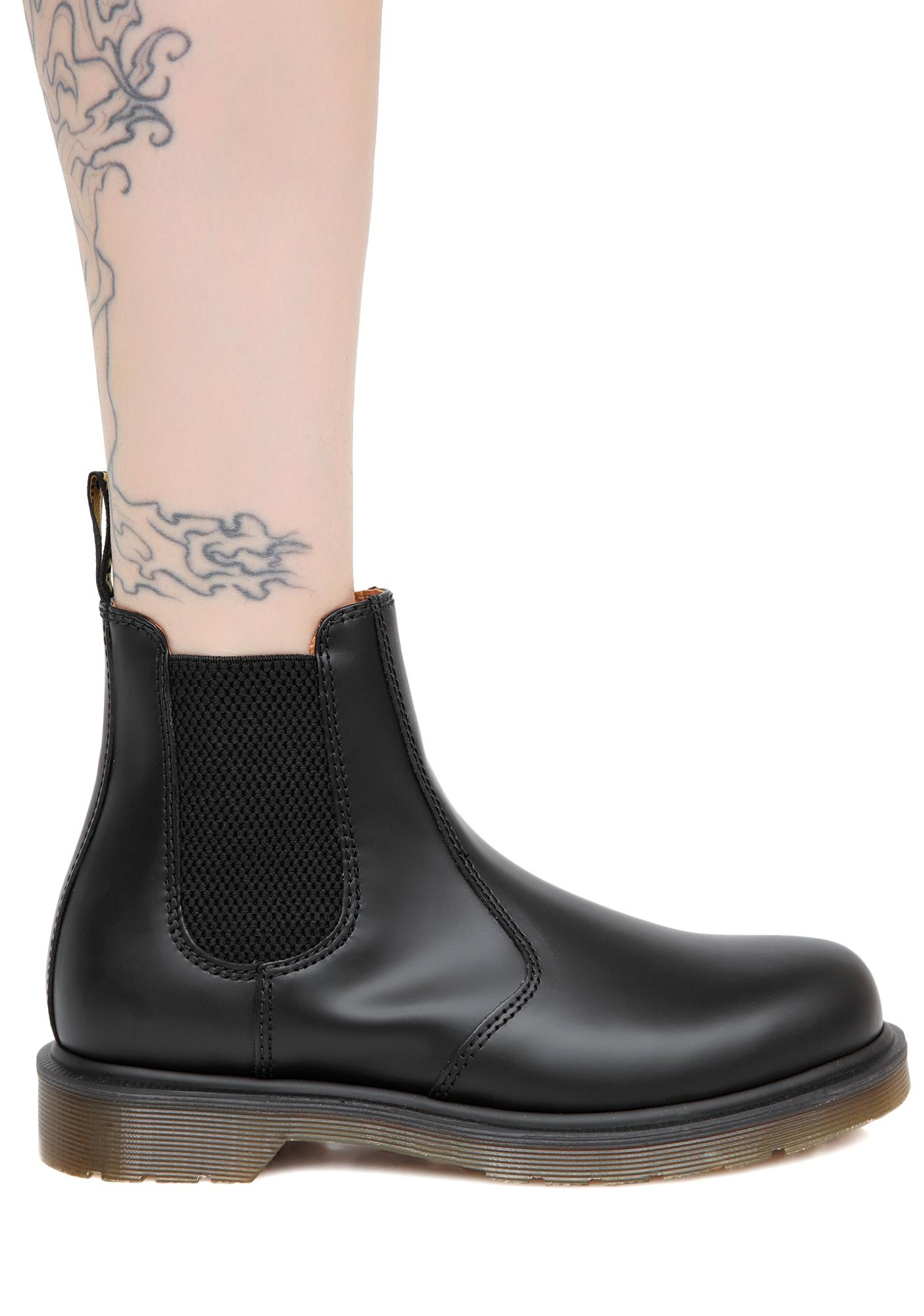 Dr. Martens Black 2976 8 Eye Yellow Stitch Boots