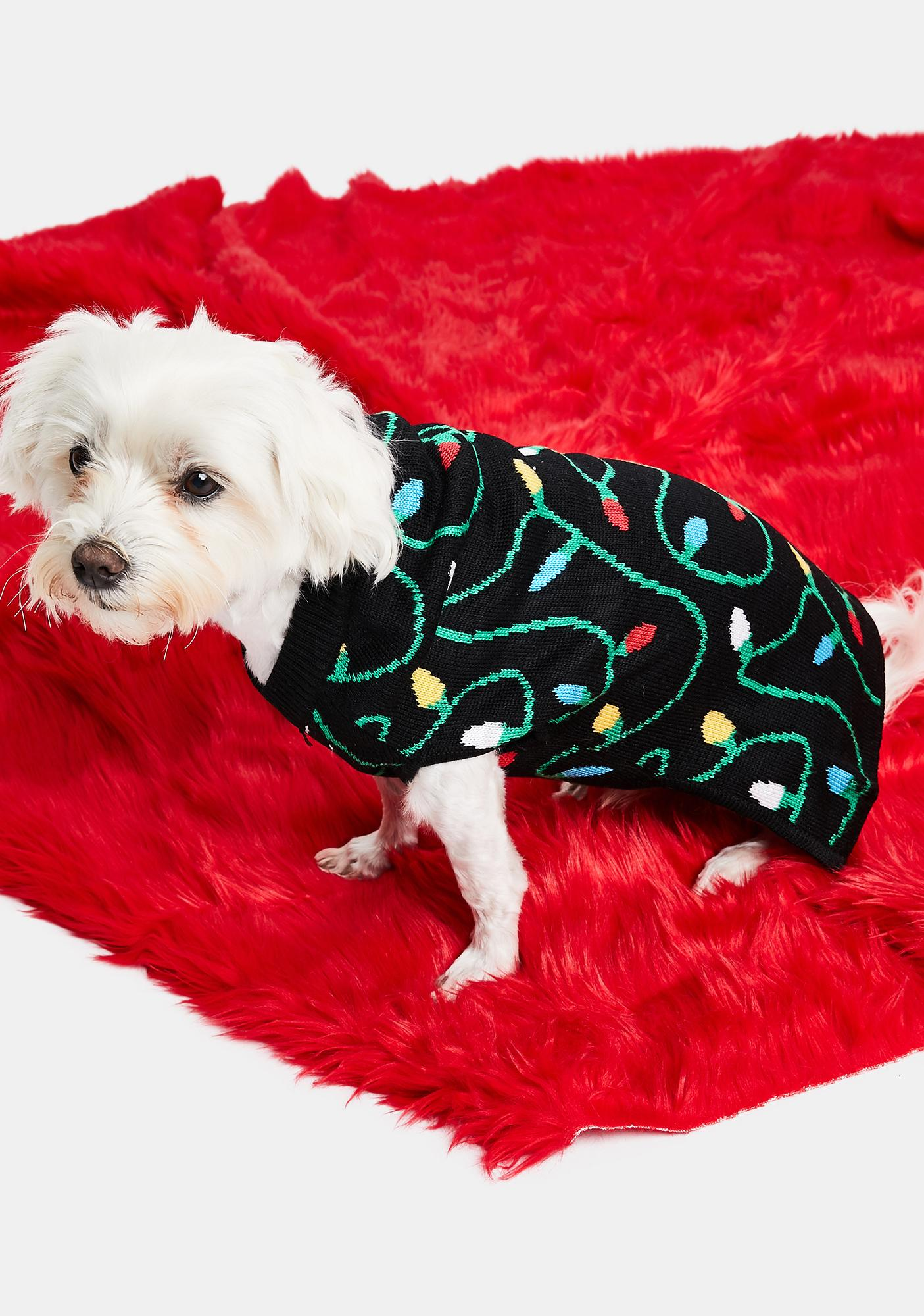 Tipsy Elves String Of Lights Dog Sweater