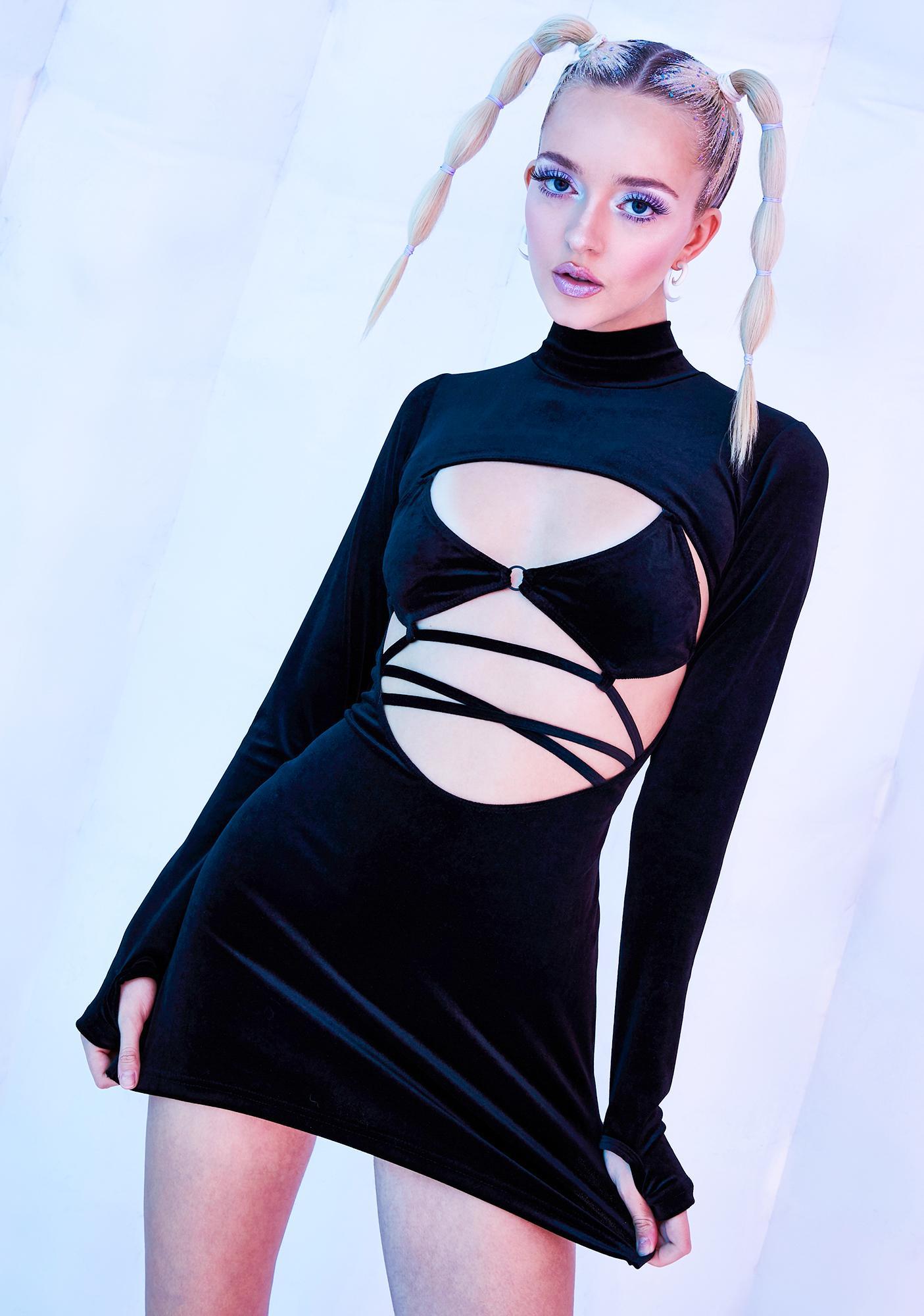 Club Exx Dark Rave Bunny Velvet Cut-Out Dress