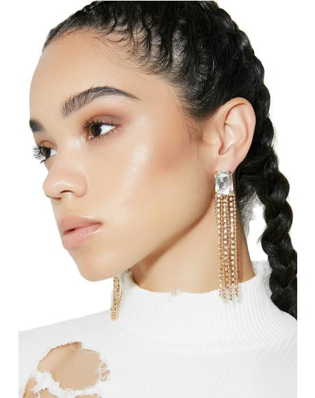 New Money Rhinestone Fringe Earrings