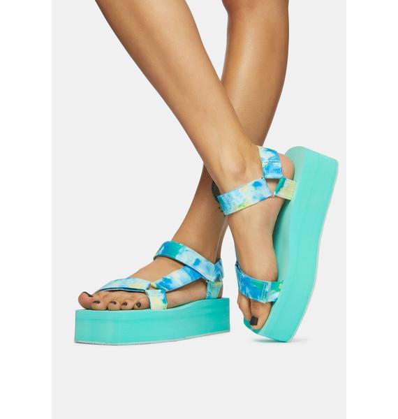 Aqua Tie Dye Gonna Getcha Platform Sandals