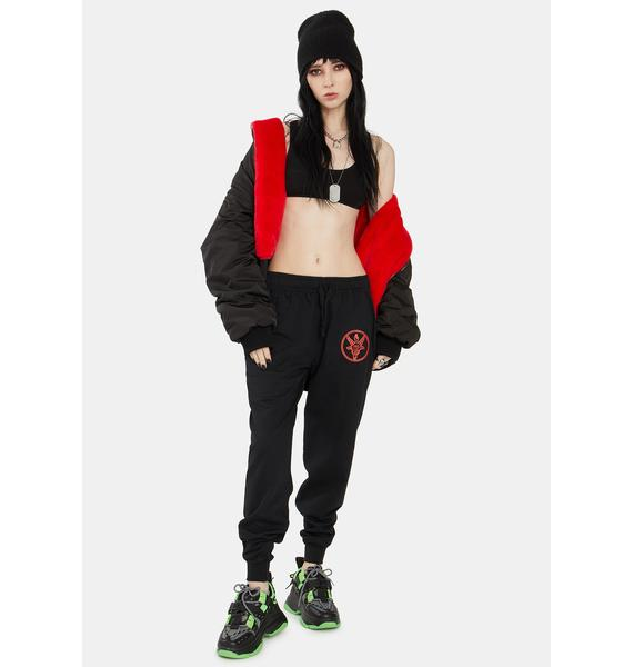 Long Clothing Red Baphomet Jogger Sweatpants