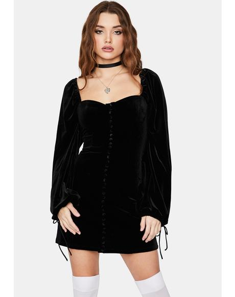 Pretty Teaser Velour Puff Mini Dress