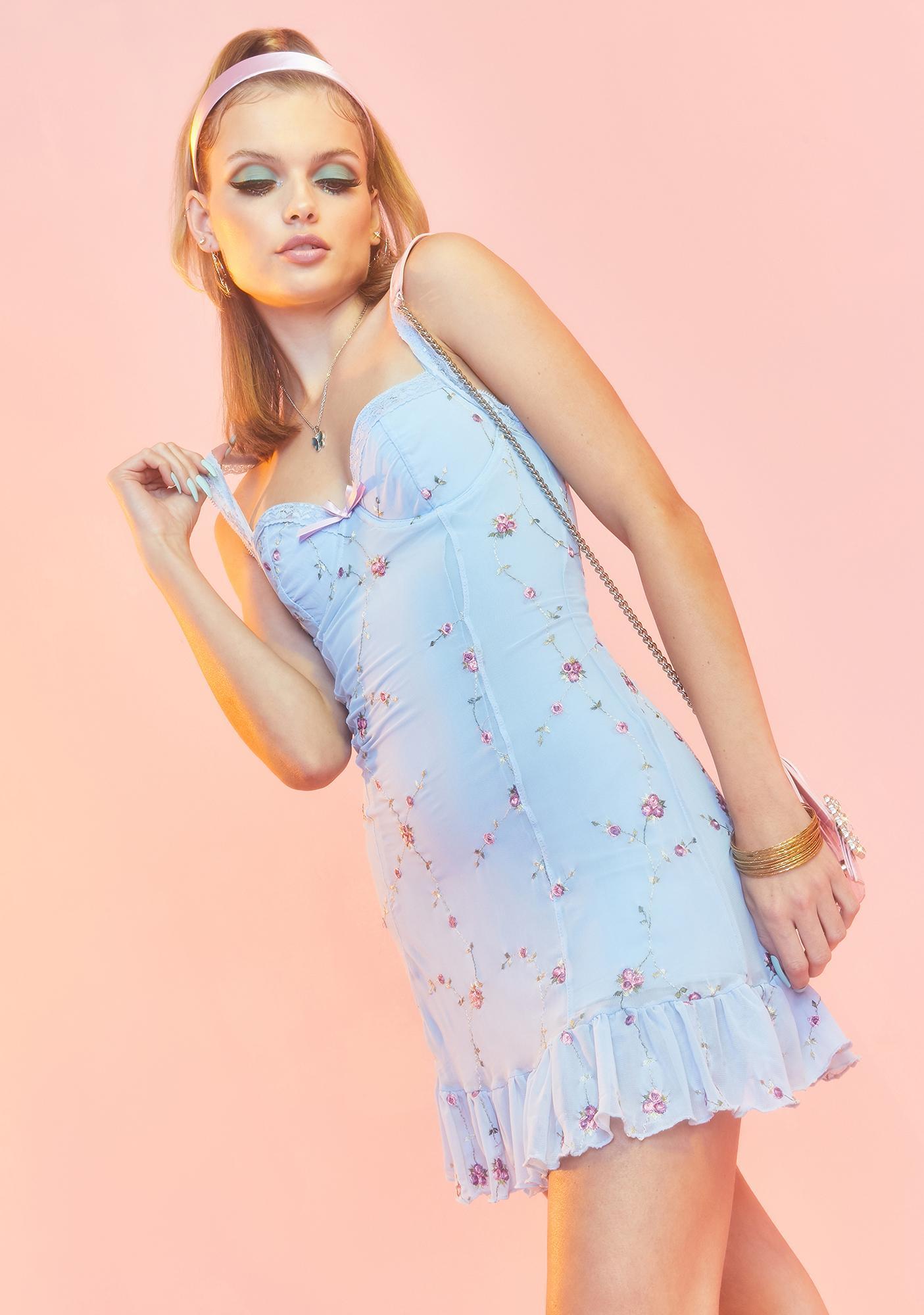 Sugar Thrillz Azure I'm Baby Mini Slip Dress