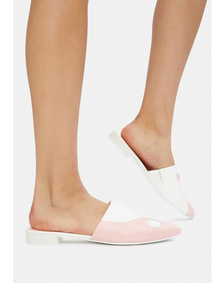 Pink Balancing Act Vegan Leather Mules