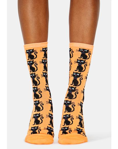 Orange Black Cat Crew Socks