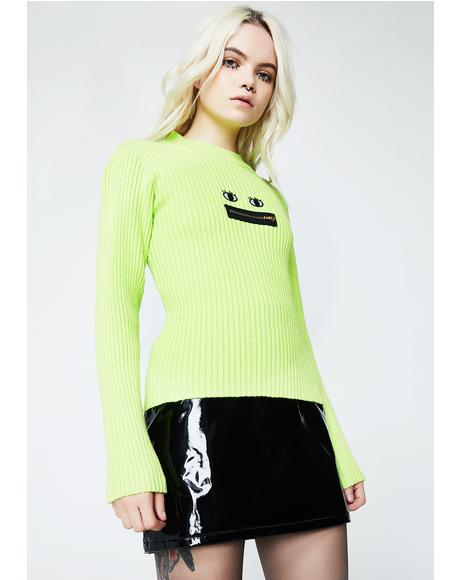 Neon Zippy Mouth Long Sleeve Knit