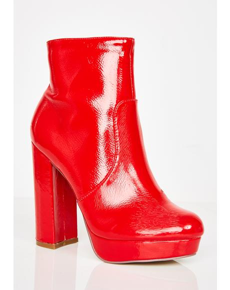 Cherry Berry Dangerous Platform Booties