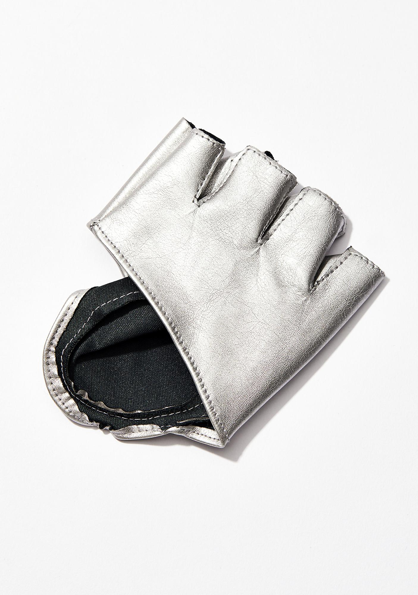 Chrome Cut Ya Off Moto Gloves