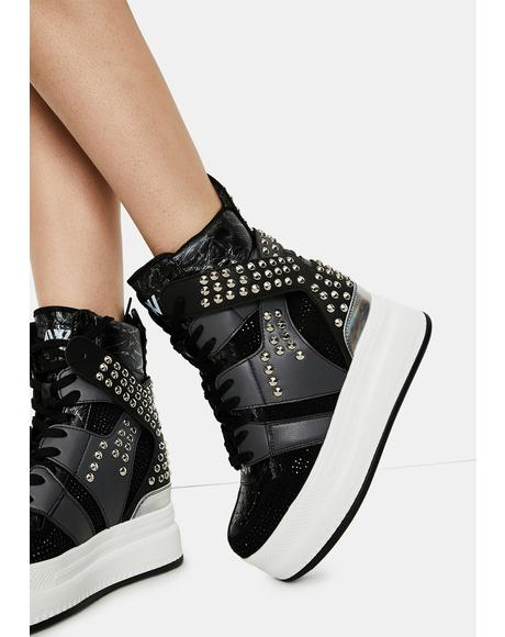Quince Studded Wedge Sneakers