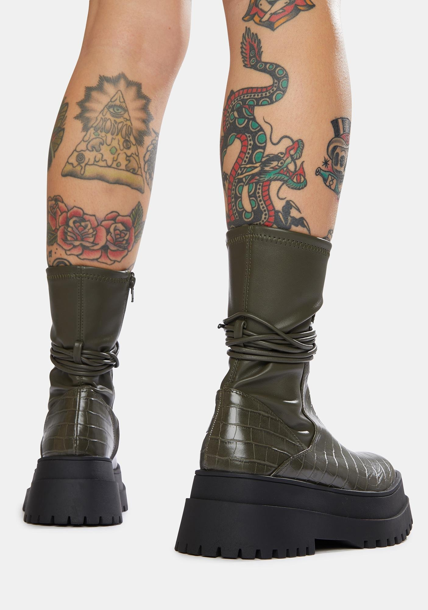 Public Desire Olive Finale Chunky Ankle Wrap Boots