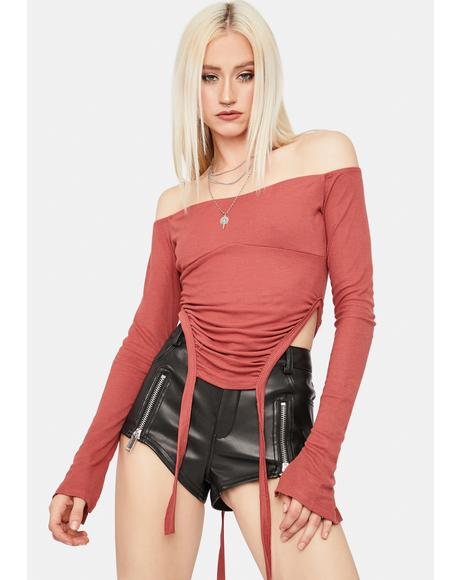 Rust To The Top Ruched Crop Top