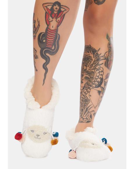 Llama Critter Plush Slippers