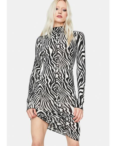 Roaring Out Long Sleeve Zebra Maxi