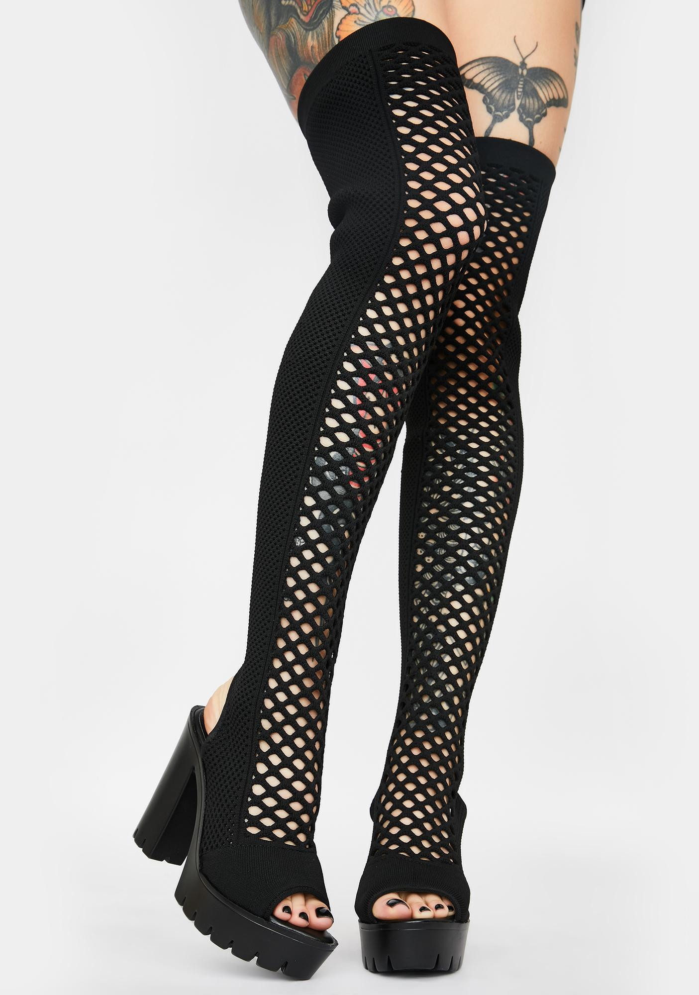 Straight No Chaser Fishnet Boots