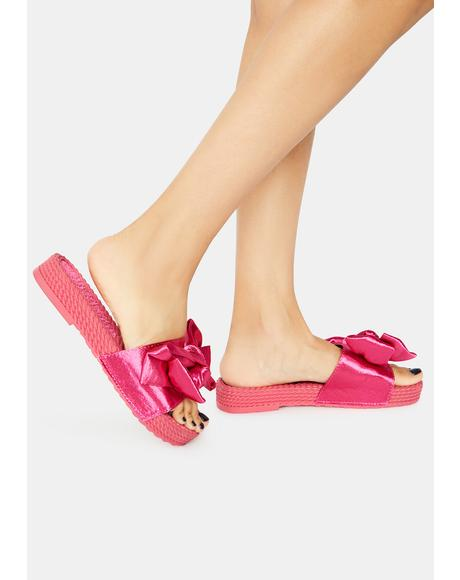 Flirty Lil Holly Golightly Woven Sole Bow Slides