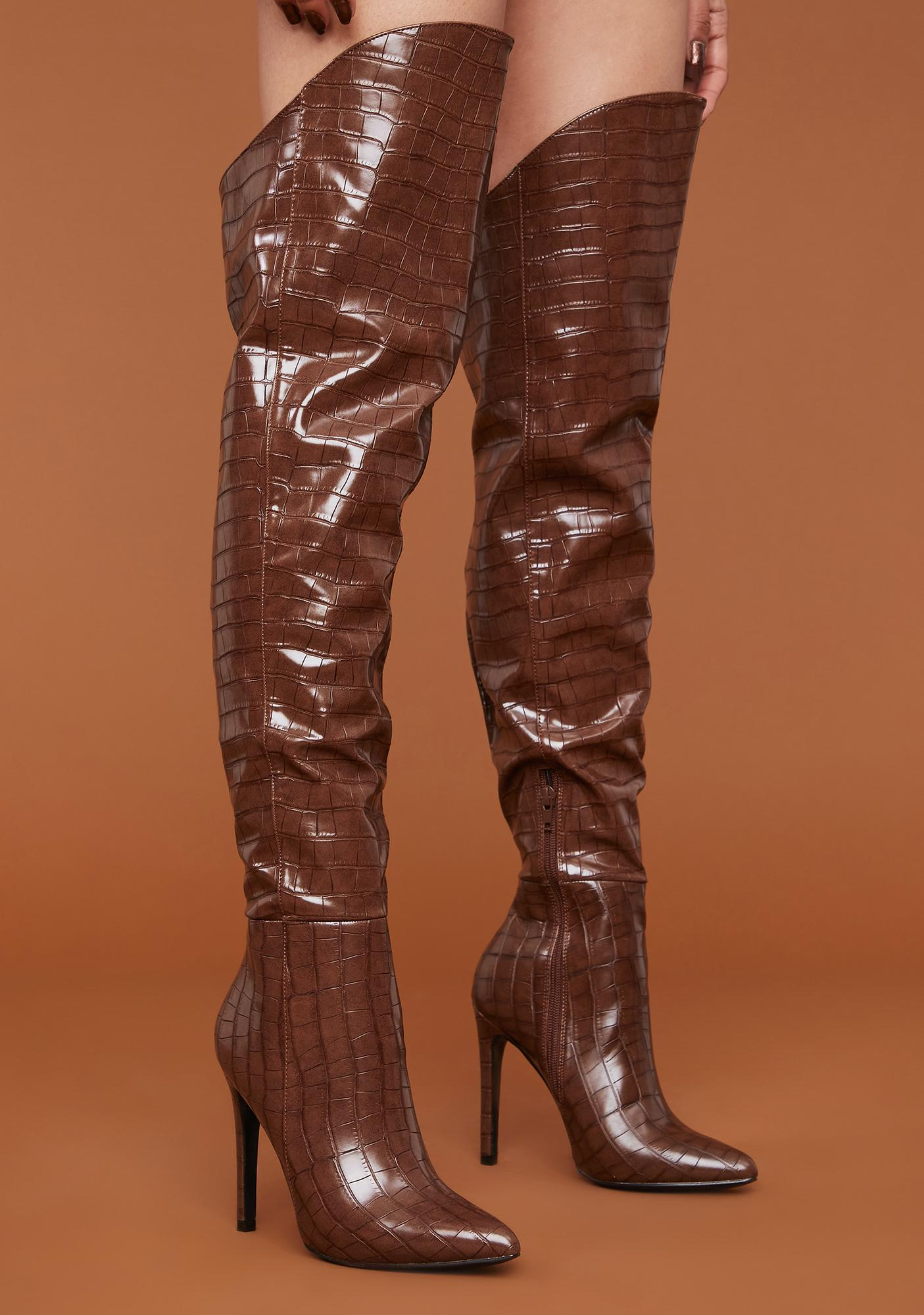 Always On Trend Snakeskin Thigh High Boots