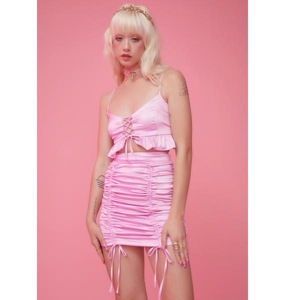 Sugar Thrillz By The Banks Satin Skirt Set