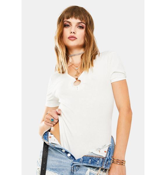 Glamorous White Ribbed Bodysuit