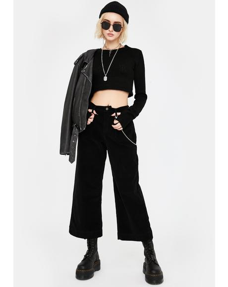 Black Corduroy Wide Leg Pants