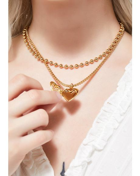 Golden For Evermore Locket Necklace
