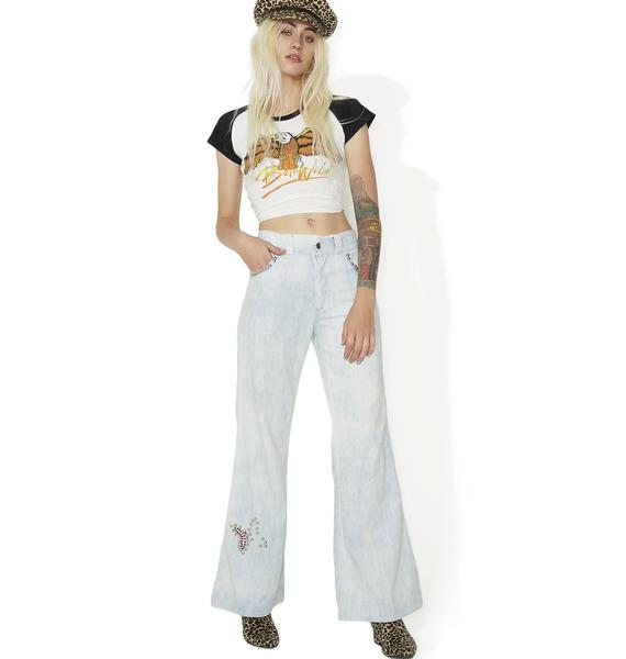 Vintage Studded Butterfly Bell Bottoms