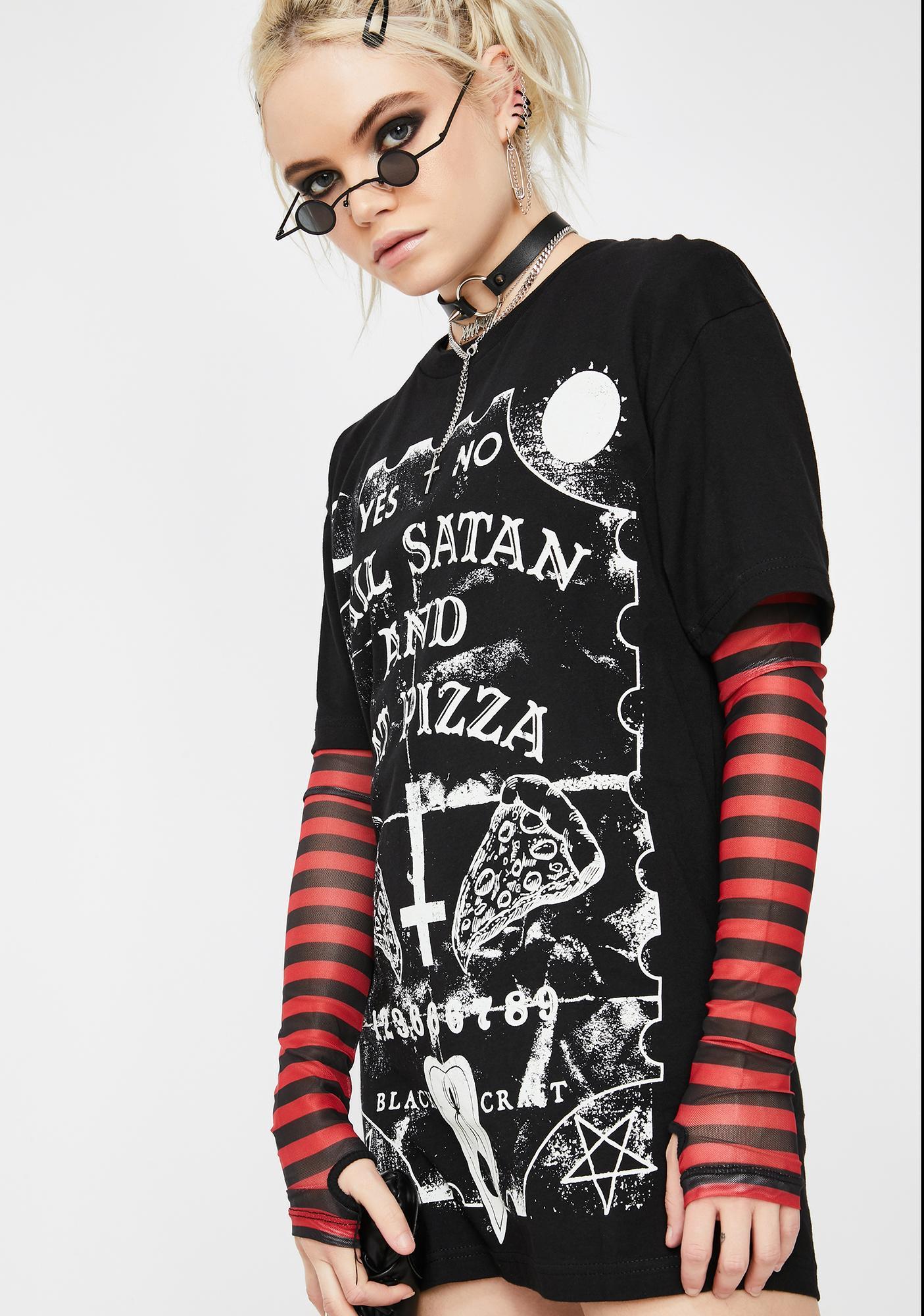 Blackcraft Hail Satan N' Eat Pizza Graphic Tee
