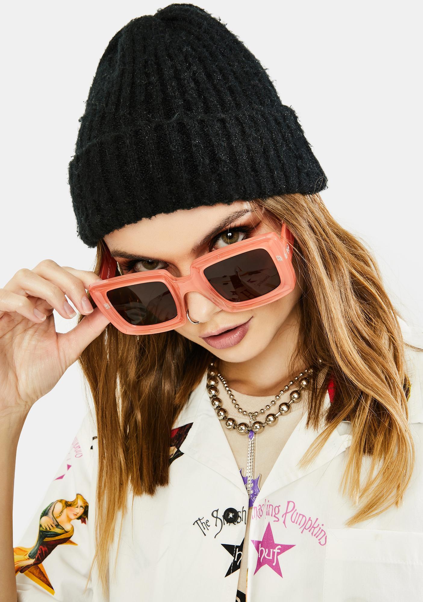 Peach Having A Moment Oversized Sunglasses