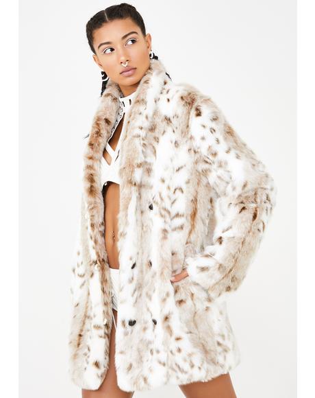Siberian Snow Leopard Faux Fur Coat