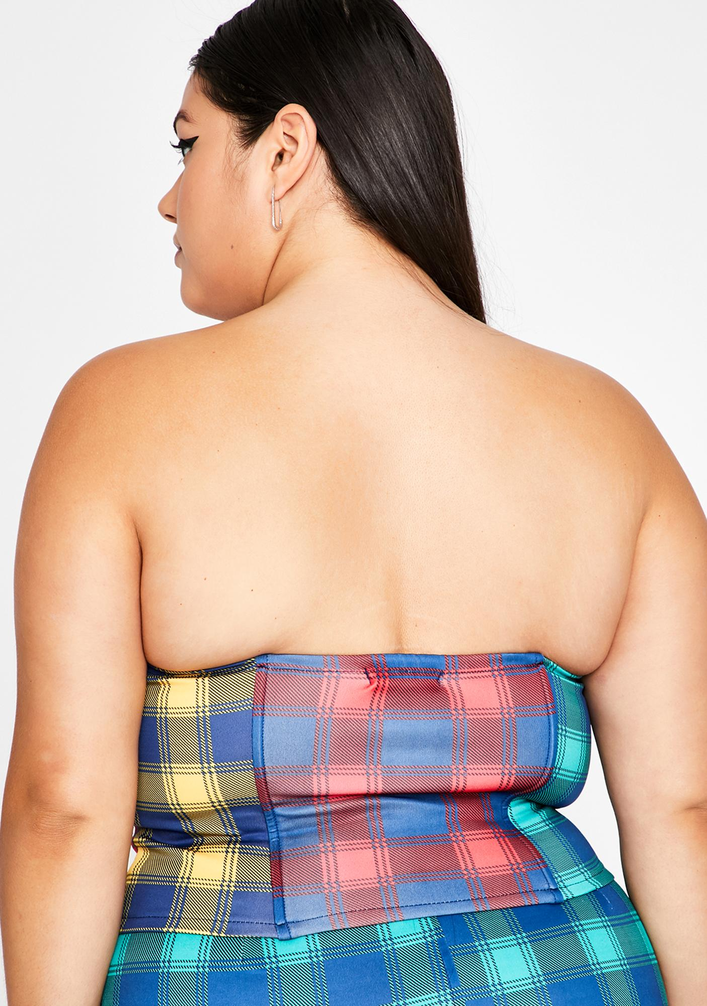 Funky Mz Plaid Action Bustier Top