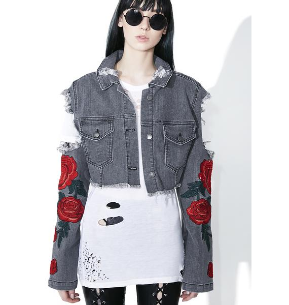 Midnight Desert Rose Distressed Jacket