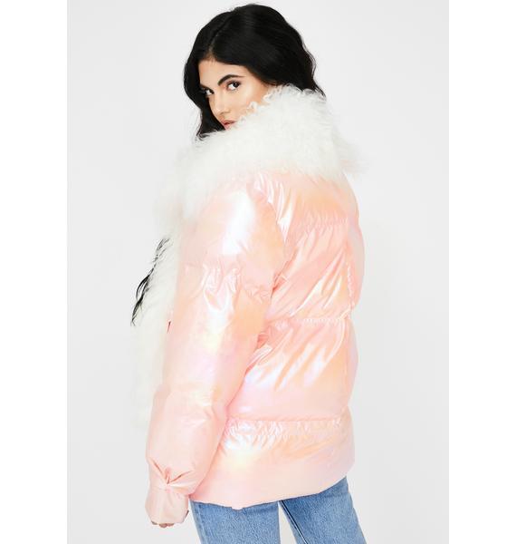 ZEMETA Metallic Pink Lama Puffer Jacket