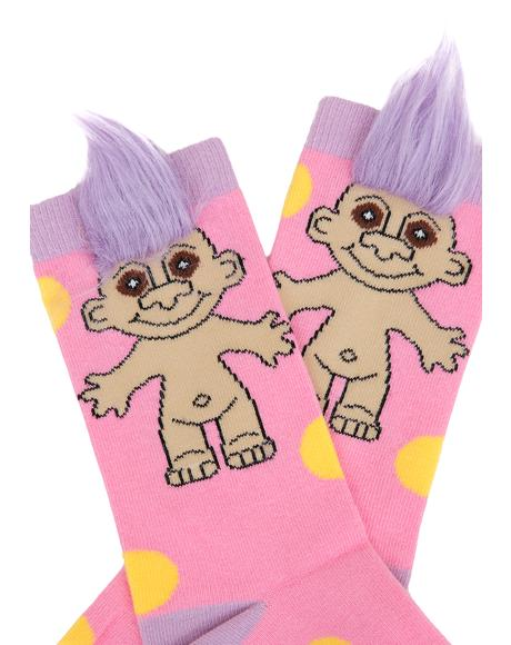 Pink Polka Party Crew Socks
