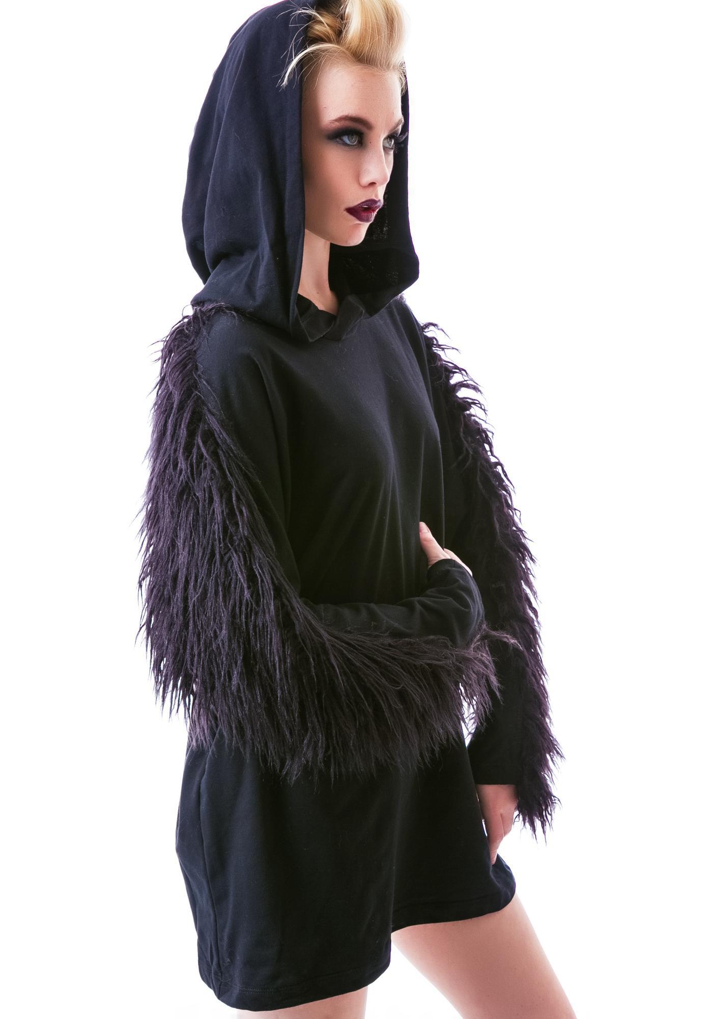 Widow Hellhound Faux Fur Pullover Hoodie