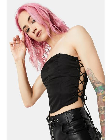 In Your Dreams Lace Up Side Tube Top