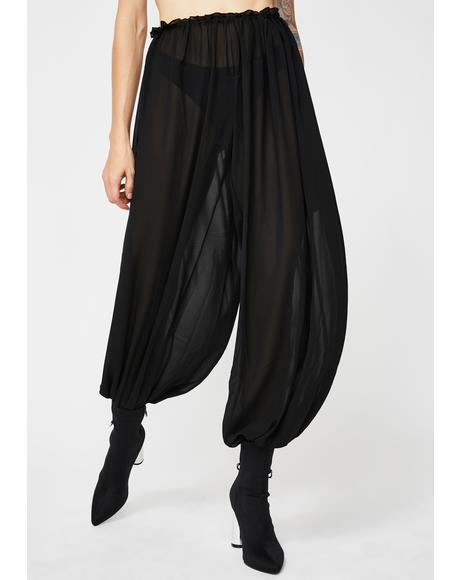 Retro Lounge High Waist Sheer Pants