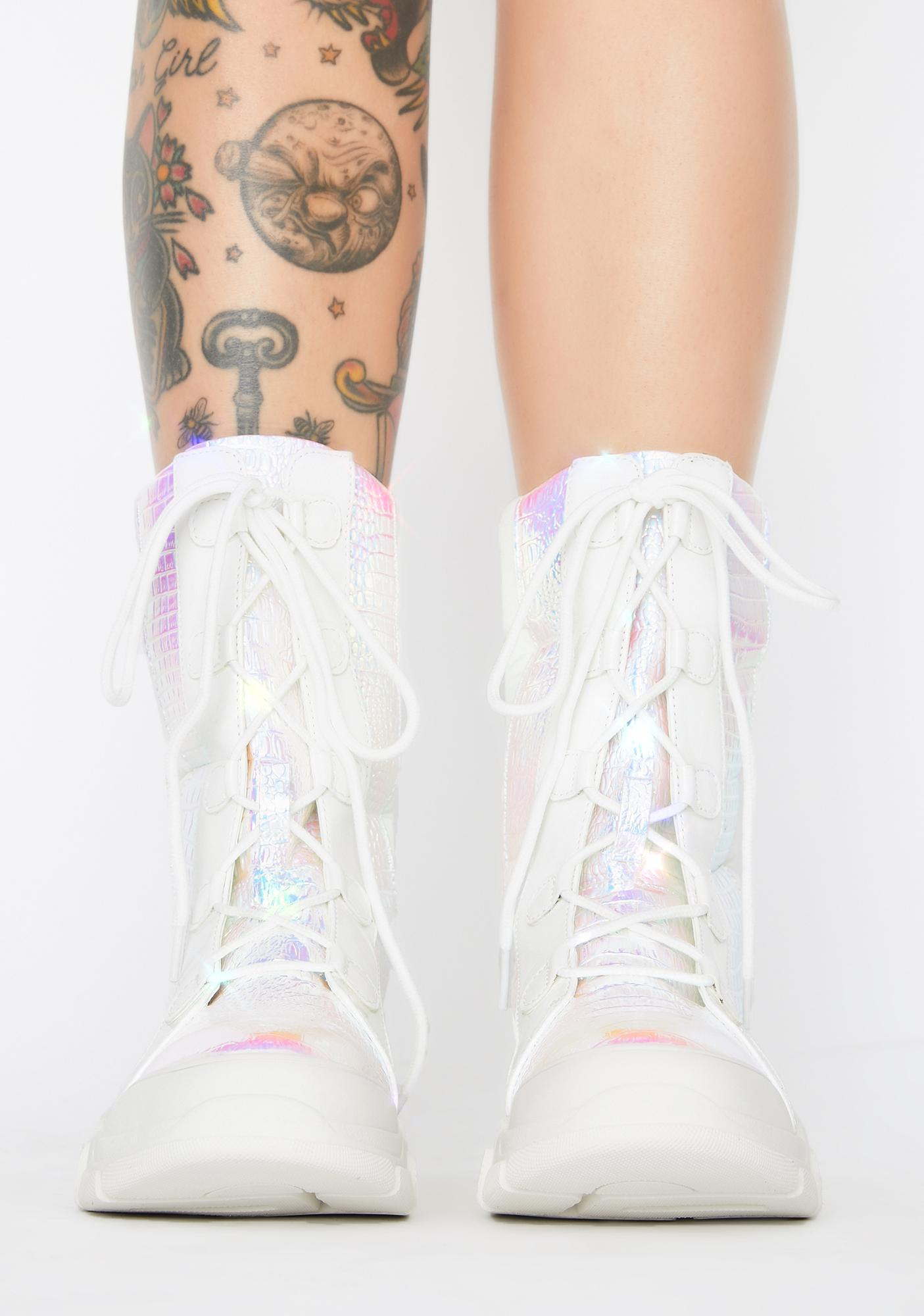Cosmic Frost Lace Up Boots