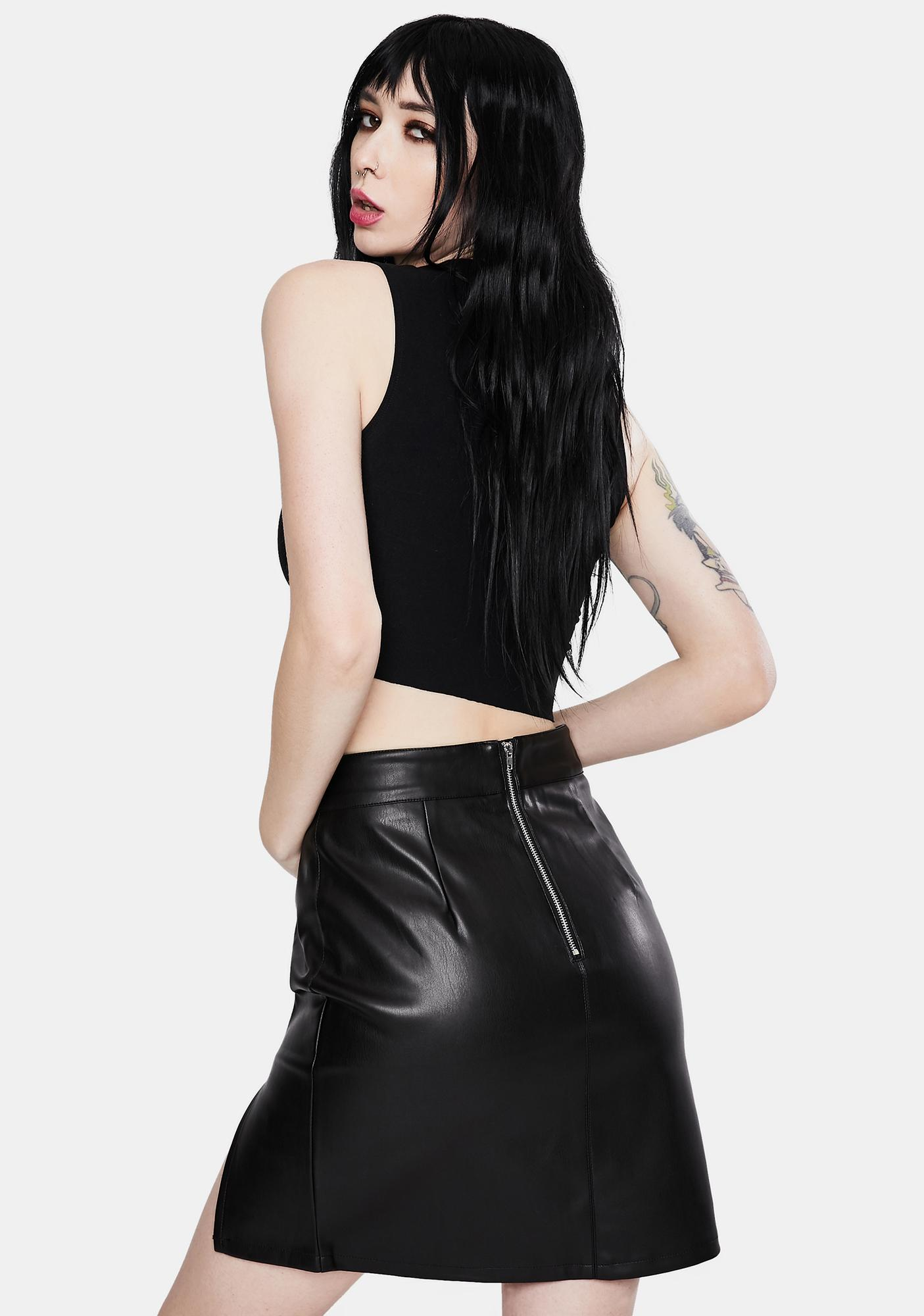 SNDYS. THE LABEL Knox Faux Leather Skirt