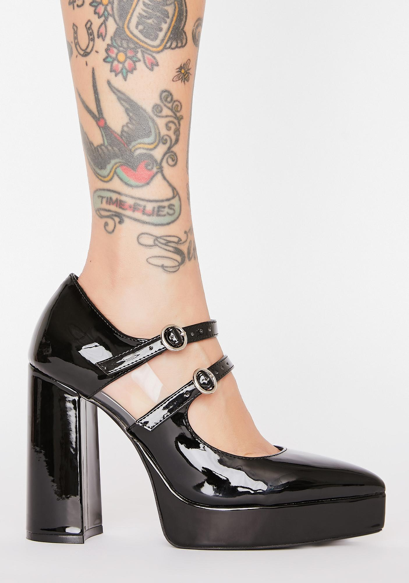 Current Mood Improper Thoughts Patent Mary Janes