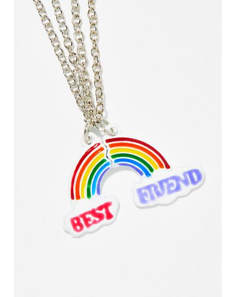 Rainbow Love Friendship Necklace Set