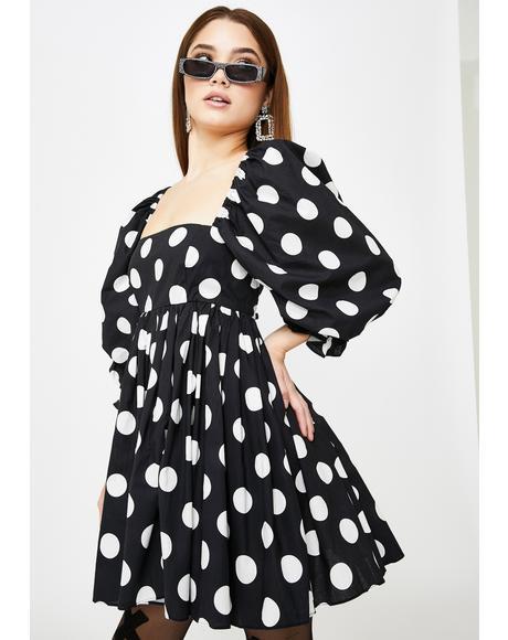 Black Polka Dot Puff Dress